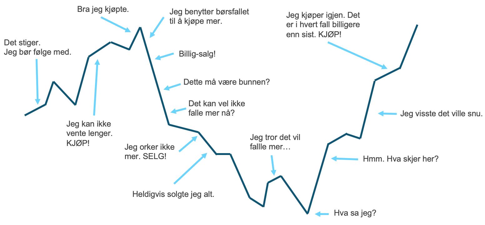 Her ser du hvordan mange investorer oppførerer seg når de investerer i fond gjennom et børsfall - ikke bli en av dem!